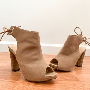 Chase and Chloe Taupe Suede Lace Up Booties
